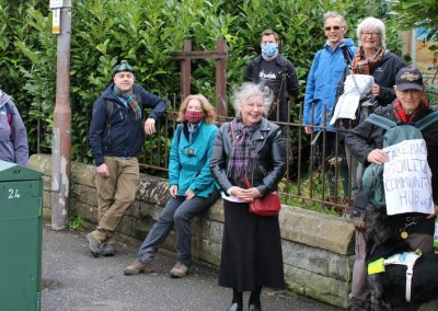 The tartan clad socially distanced group as they set out on the Kilt Walk
